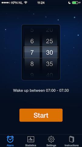 Sleep Cycle alarm instellen