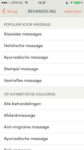 Treatwell iPhone massage kiezen