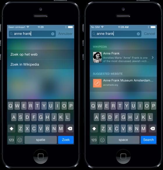 iOS 8 spotlight oud versus nieuw