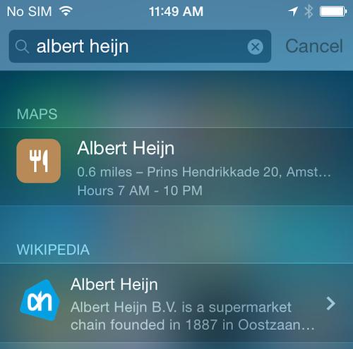 iOS 8 spotlight Albert Heijn