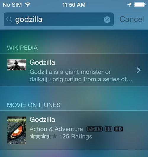 iOS 8 spotlight Godzilla