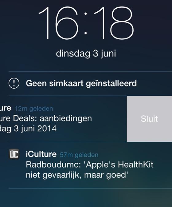 iOS 8 interactieve notificatie opzij