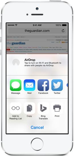 iOS 8 custom actions