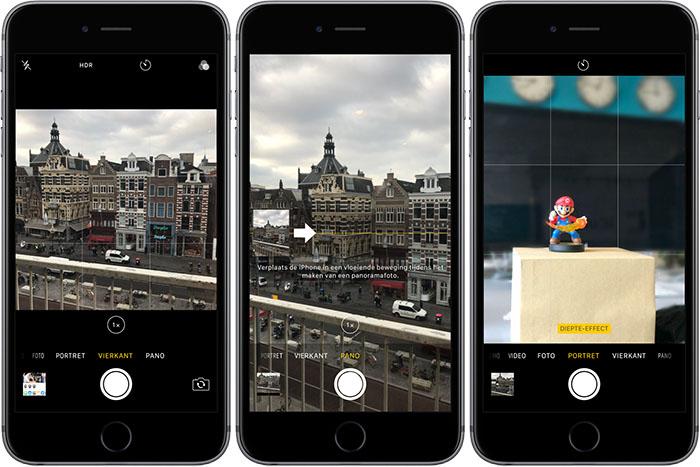 Fotoformaten op de iPhone: Vierkant, Panorama en Portret.