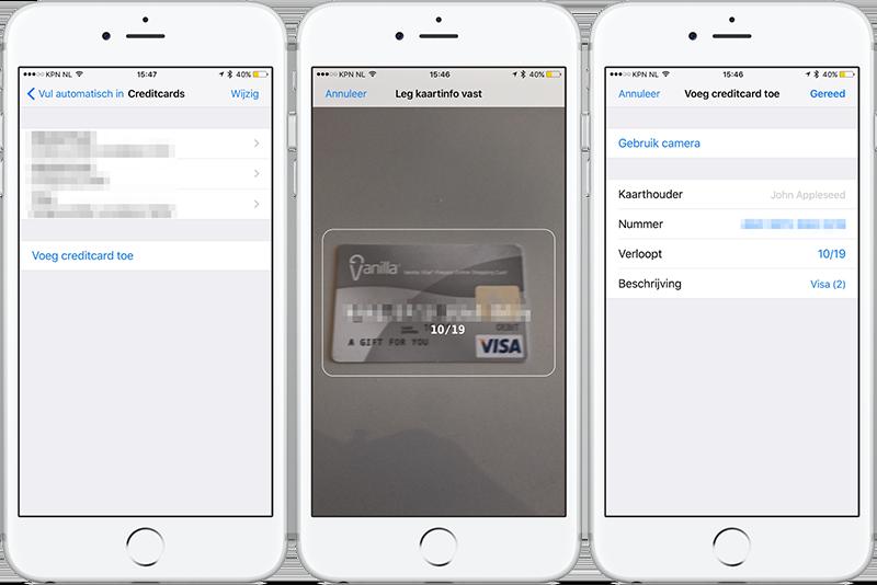 Creditcard scannen met iPhone-camera