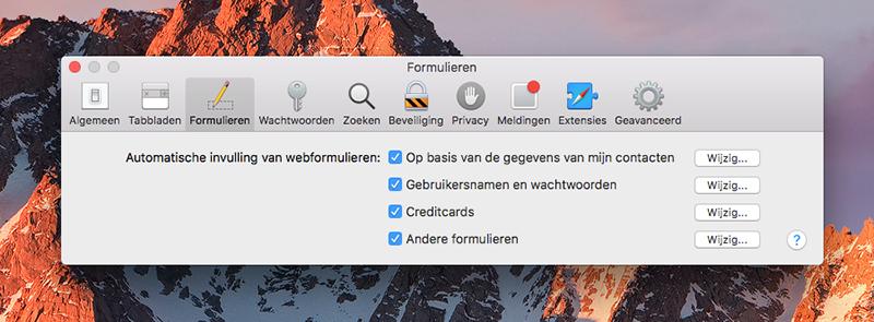 Creditcards in iCloud Sleutelhanger op de Mac