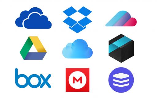 De iconen van clouddiensten.