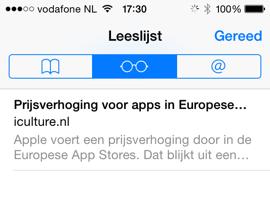 Leeslijst op de iPhone
