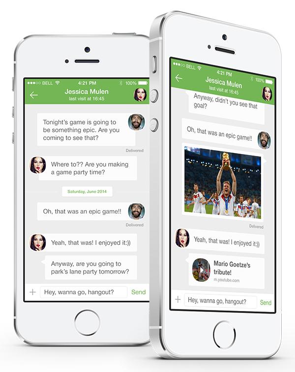 WhatsApp iOS 8 concept chat