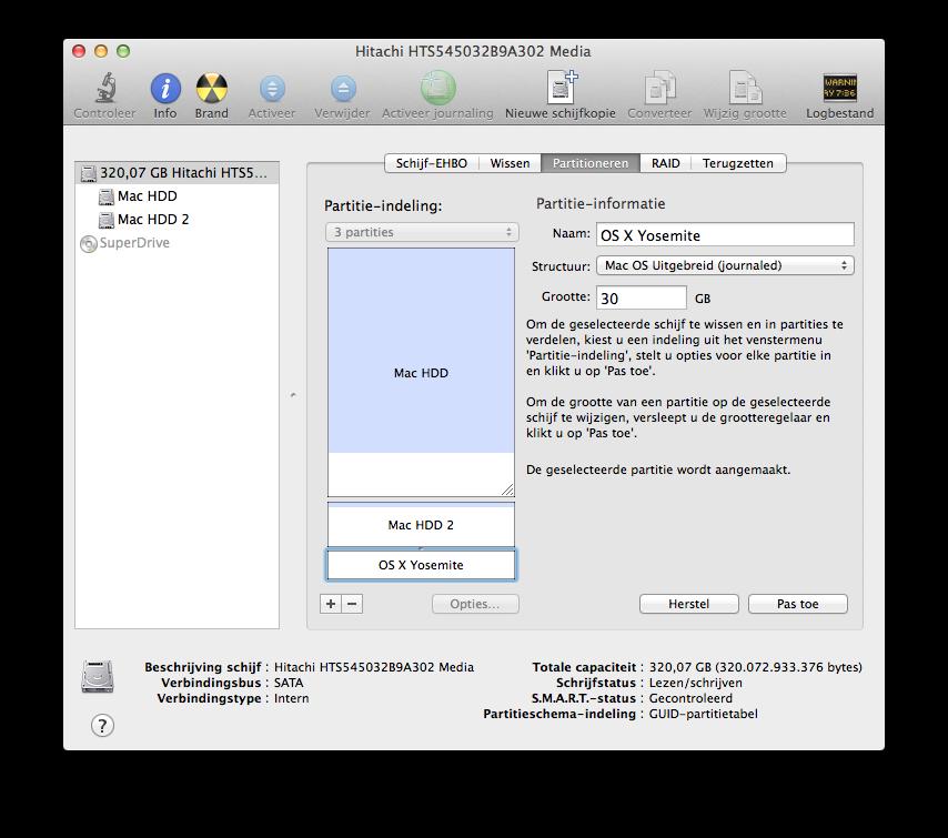 Schijfhulpprogramma OS X Yosemite