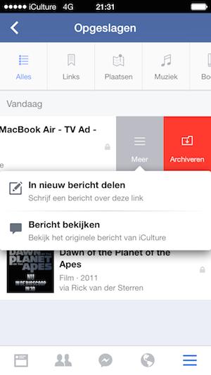Facebook app opgeslagen menu