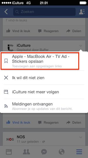 Facebook iOS-app artikel opslaan