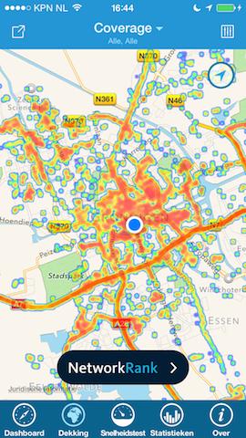 OpenSignal bereik op kaart