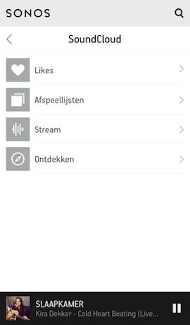 SoundCloud Sonos menu
