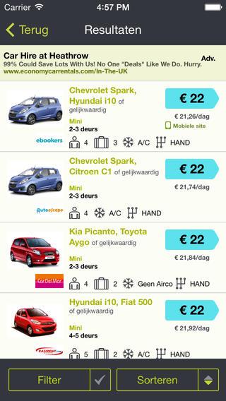 SkyScanner Autoverhuur prijzen