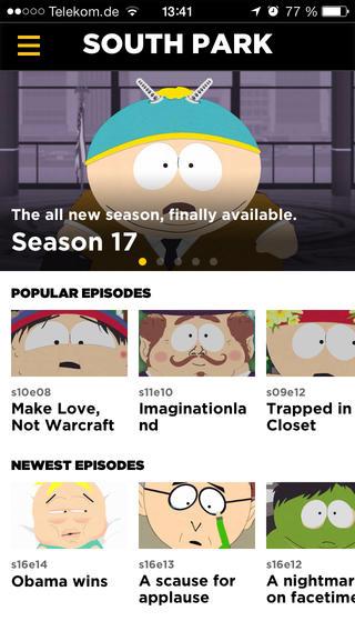 South Park hoofdmenu