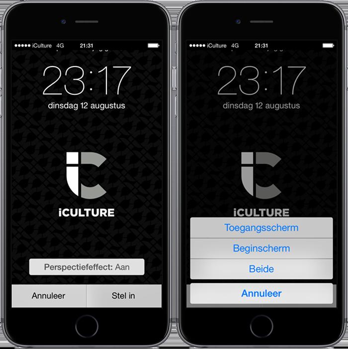 iCulture wallpaper instellen, stap 2