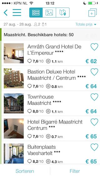 Skyscanner Hotels lijst