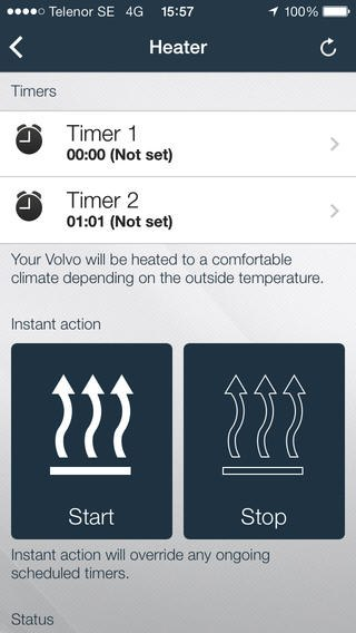volvo on call verwarming