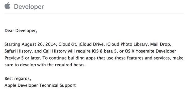 cloudkit wissen beta ios8 yosemite