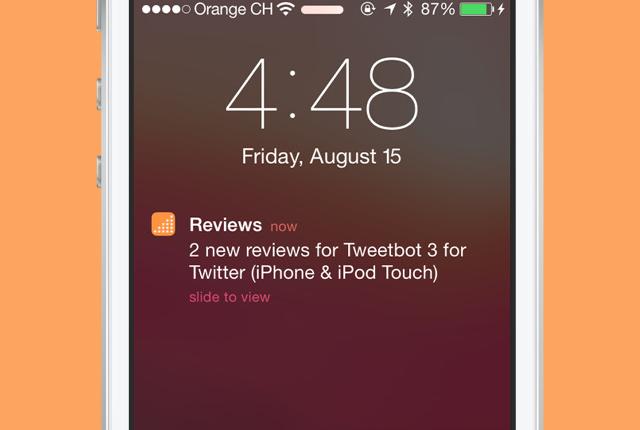 Reviews pushberichten van App Store recensies