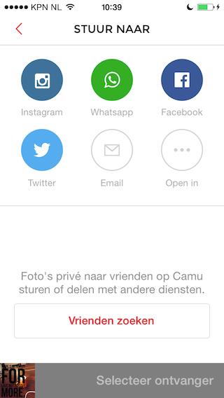 Camu delen naar andere apps iPhone