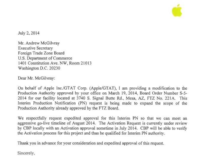 brief apple saffierfabriek augustus 2014