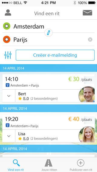 BlaBlaCar rit vinden iPhone app