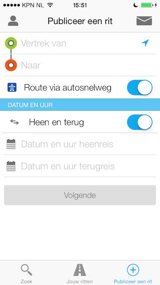 BlaBlaCar rit aanmaken iPhone