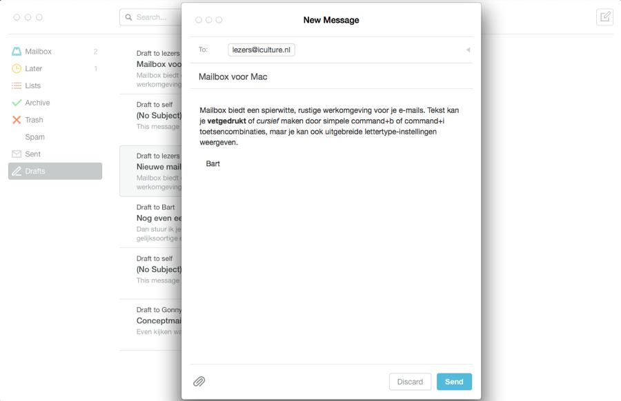 Mailbox Mac nieuwe mail schrijven