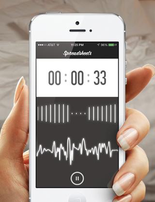 Spreadsheets seks sessie loggen iPhone app