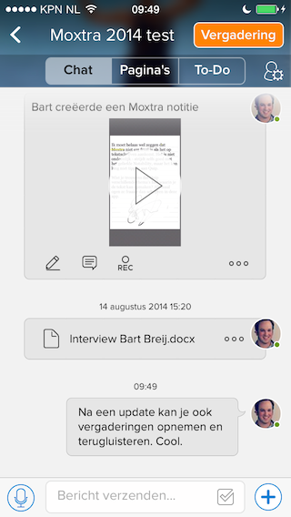 Moxtra chatten over deocument
