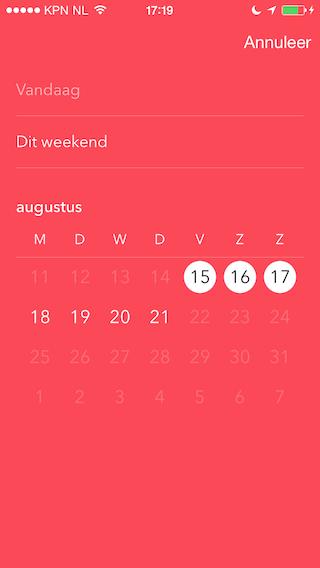Vamos iPhone datum selecteren