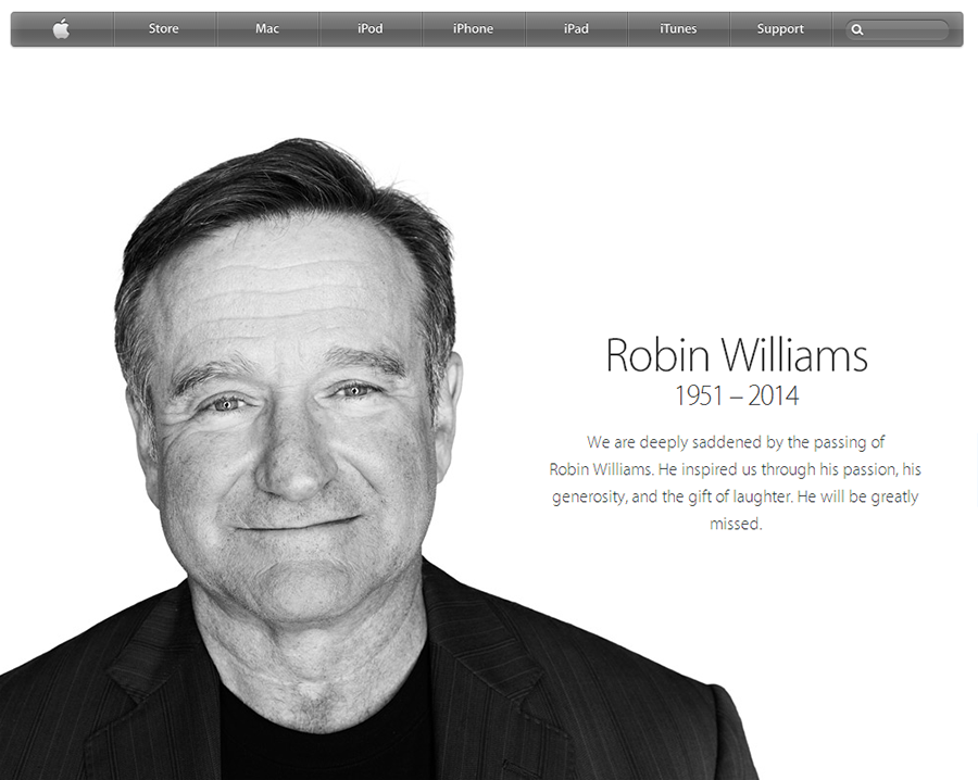 Robin Williams Apple website