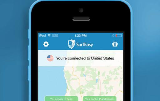 SurfEasy beveiligde VPN verbinding iPhone iPad