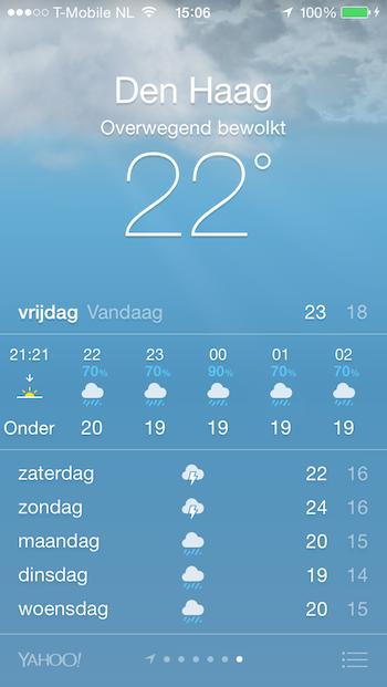 Weersverwachting Apple Store Den Haag
