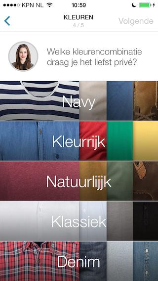 Outfittery kleuren voorkeuren
