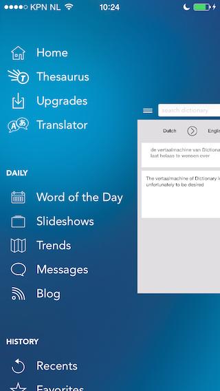 Dictionary hoofdmeny vertaalmachine