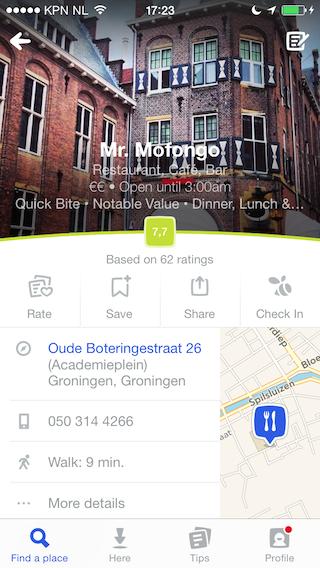 Foursquare restaurant beoordeling