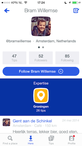 Foursquare expertise iemand