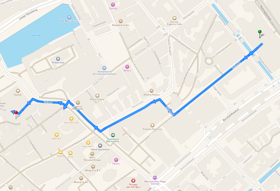 Apple Maps wandelroute Apple Store Den Haag