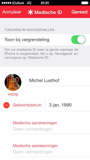 Medische ID tonen op toegangsscherm