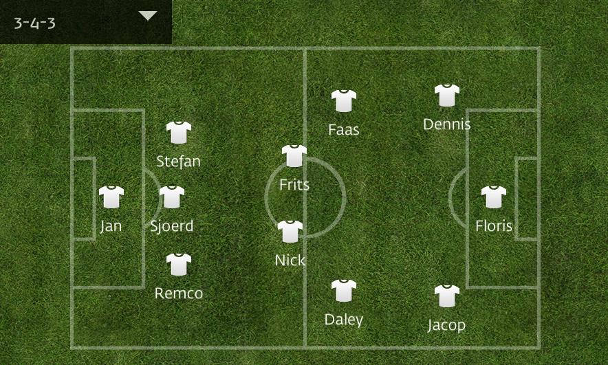 Mijn Team voetbalteamapp opstelling