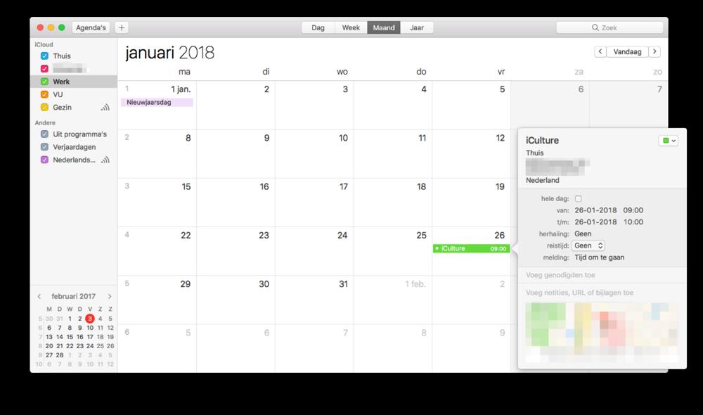 Reistijd instellen in de Agenda-app op de Mac.