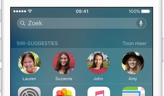 Siri-suggesties met contacten in de Spotlight