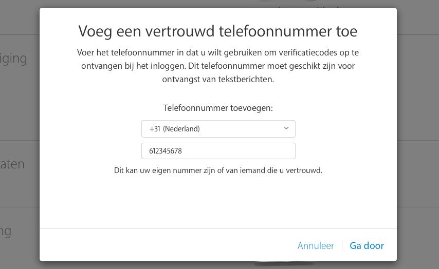 Telefoonnummer voor tweestapsverificatie.