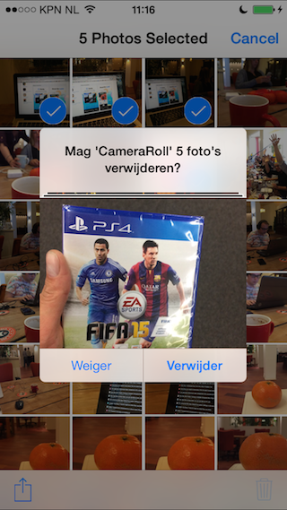 My Camera Roll iPhone pop-up voor verwijderen