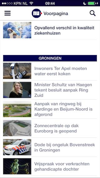 NU.nl iPhone Groningen overzichtspagina
