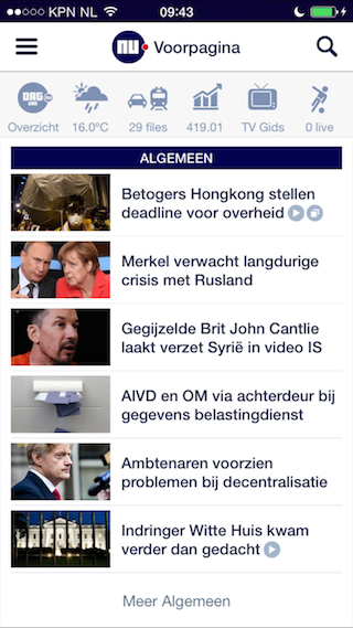 Nu.nl iPhone frontpage