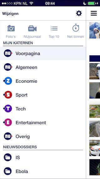 NU.nl iPhone voorpagina